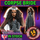 Halloween Ladies Black Corpse Bride Fancy Dress Costume Large 16-18